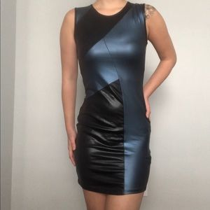"Love culture blue/black ""leather"" bodycon dress S"